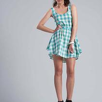 Isabel Lu Teal Tiffany Blue Plaid Tank Dress Xs 100% Cotton Knee-Length Sundress Photo