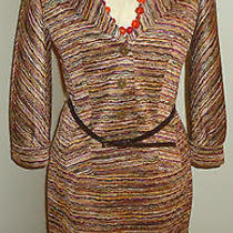 Isabel & Nina Womens 8 Skirt Suit With Belt Missoni Knit Warm Earth Tones Photo