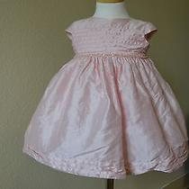 Isabella & Chloe Baby Girl 100% Silk Blush Tulle Tea Dress Size 12 Months Photo