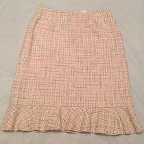 Isabella Demarco Cotton Blend Blush Light Pink Tweed Twill Flute Skirt - Sz 6 S Photo