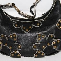 Isabella Fiore Black Studded Leather Hobo Bag Purse Photo