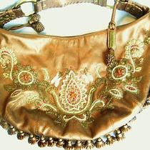 Isabella Fiore Copper Metallic Leather Hobo Bullion Beading Embroidery Tassels Photo