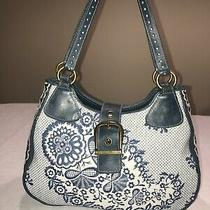 Isabella Fiore Floral Embroidered White Blue Leather Hobo Shoulder Bag Purse Photo