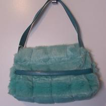 Isabella's Journey Faux Fur Teal Pale Aqua Fun Handbag Sm Tote Purse Nwt Photo