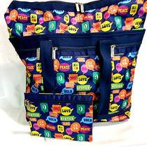Iscream Bubble Talk Large Tote Navy Lesportsac Style 140 Nwt Photo