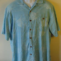 Island Shores Washable 100% Silk Shirt Orig. Island Wear L Wood Buttons Euc Photo