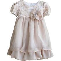 Isobella & Chloe Baby Girls Champagne Cap Sleeve Lace Detail Dress 9m Photo