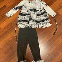Isobella & Chloe Fall 2pc Marble Ruffle Pants Set Size 4t Photo