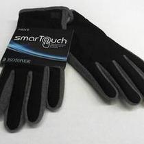Isotoner Mens M Winter Gloves Black / Oxford Heather Solid Designer Adult Sale Photo