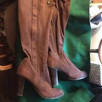 Issac Mizrahi Women Tall Brown Suede Stacked 9.5