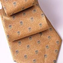 Isw Salvatore Ferragamo Tan With Clovers Silk Tie Photo