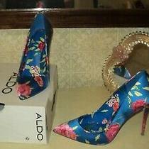 Italian Aldo Floral Blue Satin Classic Pumps Stiletto Heels eu38.5us8uk5.5 Photo