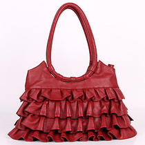 Italian Leather Red Handbags Purse Hobo Bag Satchel Tote Clutch Photo