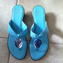 Italuan Shoemakers Sz 7.5 Aqua Turquoise Rhinestone Thongs Wedges Sandals Euc Photo
