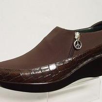 Italy Dj Pliner Sana Womens 10-M Brown Alligator Print Wedge Peace Zipper Shoes Photo