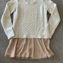 Ivory Anthropologie Cable Sweater Blush Pink Tool and Sequin Ruffle Sz M Nwot. Photo