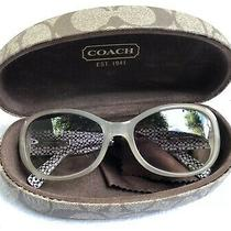 Ivory Frame Rounded Rectangular Plastic Coach Sunglasses Lknw Photo