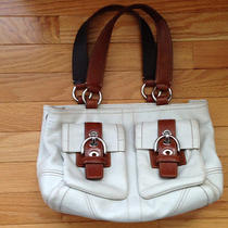 Ivory Leather Coach Satchel W/ Tan Leather Trim on Straps and Front Pockets  Photo