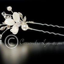 Ivory Pearl Mother of Pearl Flower Crystal Bead Beach Hair Pin Set of Two Photo