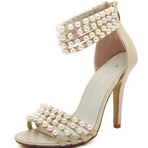 Ivory Pearls Shine Silver Lace Open Top Heels Bridal Ankle Strap Wedding Shoes  Photo