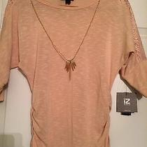 Iz Byer Blush Color Blouse W/ Gold Necklace & Lace Accents - Nwt  Photo