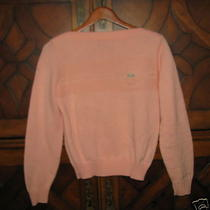 Izod Lacoste Alligator Sports Acrylic Boatneck Peach Sweater Vintage Photo