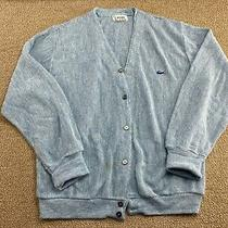 Izod Lacoste Cardigan Sweater Heather Blue Alligator Patch Knit Vtg Photo