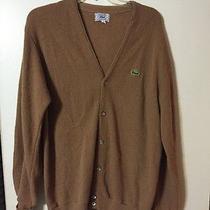 Izod Lacoste Men's Brown/tan Vintage 100% Orlon Acrylic Cardigan Sweater  Sz Xl Photo