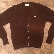 Izod Lacoste Vintage Brown Cardigan Sweater Sz Small Orlon Acrylic  Photo