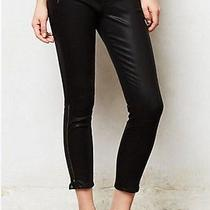 J Brand 1446 Carey Moto Capri Lacquered Black Quartz 30 Skinny Anthropologie Photo
