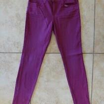 J Brand 26 Magenta Wash Super Skinny Slim Jeans Burgundy Wine Red Photo
