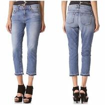 J Brand Aidan Cropped Boyfriend Jeans Size 26 Santiago Released Fray Hem Midrise Photo