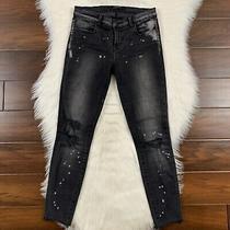 J Brand Women's Size 26 Gray Black Remix Cropped Skinny Distressed Jeans Raw Hem Photo