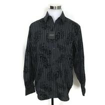 J Cambell Embroidered Long Sleeve Button Up Shirt Paisley Black Nwt Photo