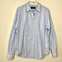 J Campbell Embroidered Blue Striped Mens Shirt 100% Cotton Button Large Floral Photo