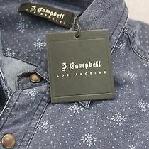 J Campbell La Mens Blue Denim Floral Cotton Snap Front Ls Dress Shirt  Nwt  S Photo