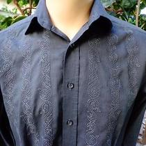 J Campbell Large Casual Shirt Grey Embroidered 100% Cotton Photo