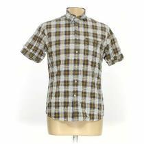 J. Campbell Men's  Button-Up Short Sleeve Shirt Size L  Yellow  Cotton Photo