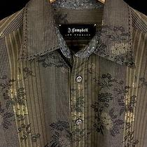 J Campbell Men's Golden Brown Floral Flip Cuff Button Front Dress Shirt Medium  Photo