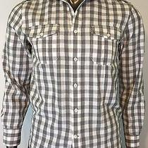 J. Campbell Men's Small S Button Front Shirt Check Gray Long Sleeve Cotton Photo