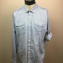 J.campbell Men's X-Large Blue and White Plaid Roll Tab Sleeve Button Front Shirt Photo