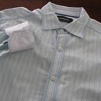 J Campbell Sz M 16-36/37 Blue Striped Contrast Cuff Dress Shirt Photo