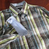 J Campbell Sz M Green Blue Plaid Long Sleeve Men's Casual Shirts Euc Gussets Photo