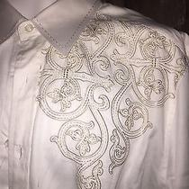 J. Campbell White 100% Cotton Dress Men's Shirt L Photo