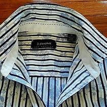 J Campbell White Blue Stripes Floral Prints Long Sleeve Dress Shirt Mens Size M Photo