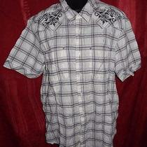 J. Campbell White Gray Plaid Embroidered Button Front Dress Shirt M Rockabilly Photo