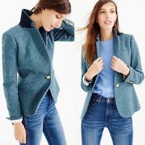 J. Crew 100% Wool Campbell Blazer in Blue Herringbone Size 8 Photo