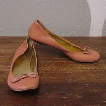 J Crew 7.5 Peach Blush Made in Italy Leather Satin Bow Toe Ballet Flats Photo