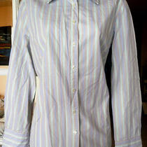 J. Crew Aqua Tan Blue Striped 100% Cotton Shirt Size Medium Blouse Long Sleeve Photo