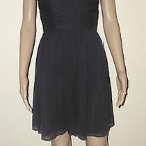 J Crew Arabelle Silk Chiffon Dress Size 0 Newport Navy Strapless  29286 New  Photo